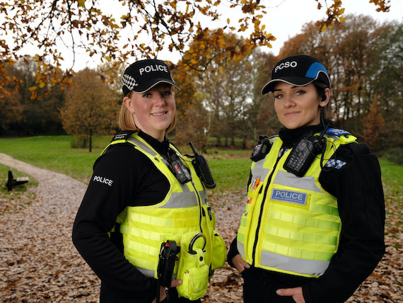 Derbyshire Constabulary Jobs | Careers Website | TwoWhite Female Police Officers in Front of Park Image.jpg