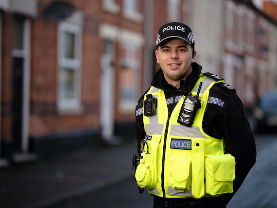 Derbyshire Constabulary Jobs | Careers Website | White Male Police Officers in Front of Row of Houses Image.jpg