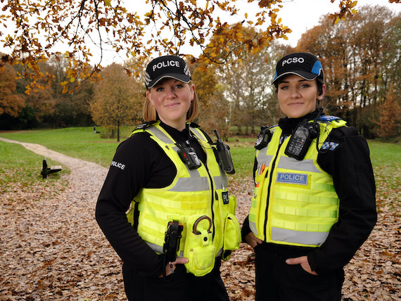 Derbyshire Constabulary Jobs | Careers Website | Two White Female Police Officers in Front of Park Image 2.jpg
