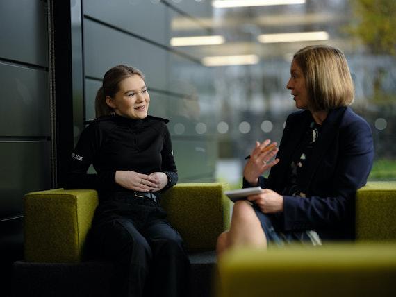 Derbyshire Constabulary Jobs | Careers Website | White Female Police Officer and White Female Police Staff Memeber Talking Image.jpg